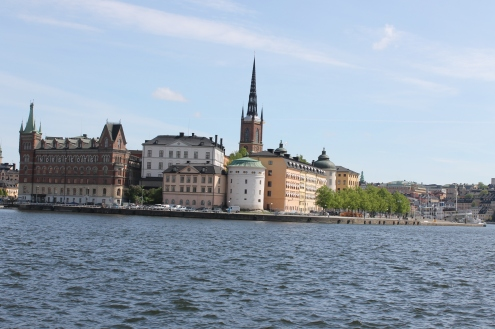 Gamla Stan, in the background you can see the Riddarholmen Church