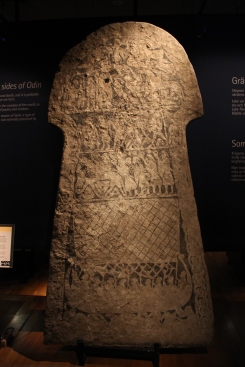 This stone shows drawings of everyday life in the viking culture